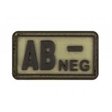 "Шеврон резиновый группа крови ""AB NEG-"" на липучке"