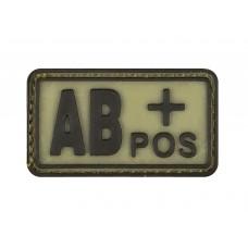 "Шеврон резиновый группа крови ""AB POS+"" на липучке"