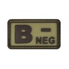 "Шеврон резиновый группа крови ""B NEG-"" на липучке"