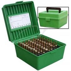 Коробка MTM R-100 на 100 патронов кал. 22-250 Rem; 243 Win; 6 mm BR Norma; 6,5x55; 6,5x284 Norma; 7,62x39; 30-30 Win; 308 Win; 30-06; 8x57 JRS; 9,3x74 R. Цвет – зеленый.