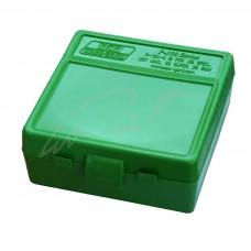 Коробка для патронов MTM кал. 7,62x25; 5,7x28; 357 Mag. Количество - 100 шт. Цвет - зеленый