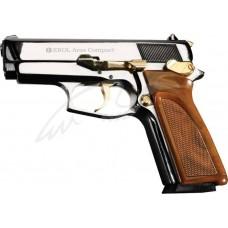 Пистолет стартовый EKOL ARAS COMPACT кал. 9мм. Цвет - белый хромированный с позолотой