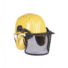 Шлем защитный немецкий с наушниками и визором